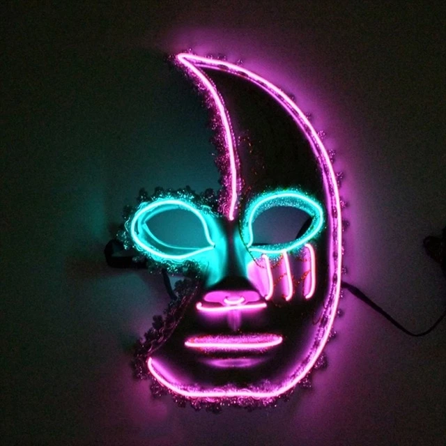 Led Glowing Half Moon Face Mask It S Okay To Be Weird Halloween Masks Carnival Masks Halloween Infographic