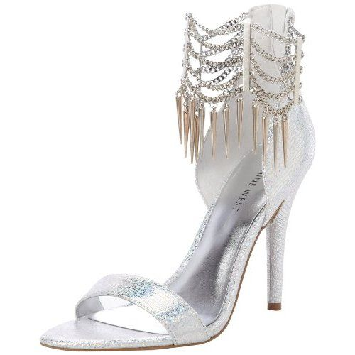 silver Nine West high heel prom sandals feature silver metallic ...