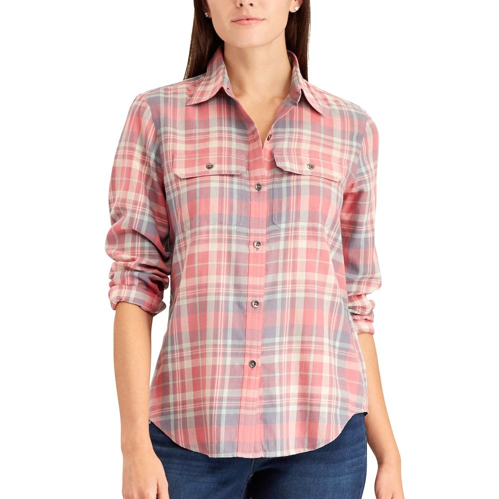Navy blue flannel shirt womens  Womenus Chaps Plaid Twill ButtonDown Shirt Size XL Grey  Twill