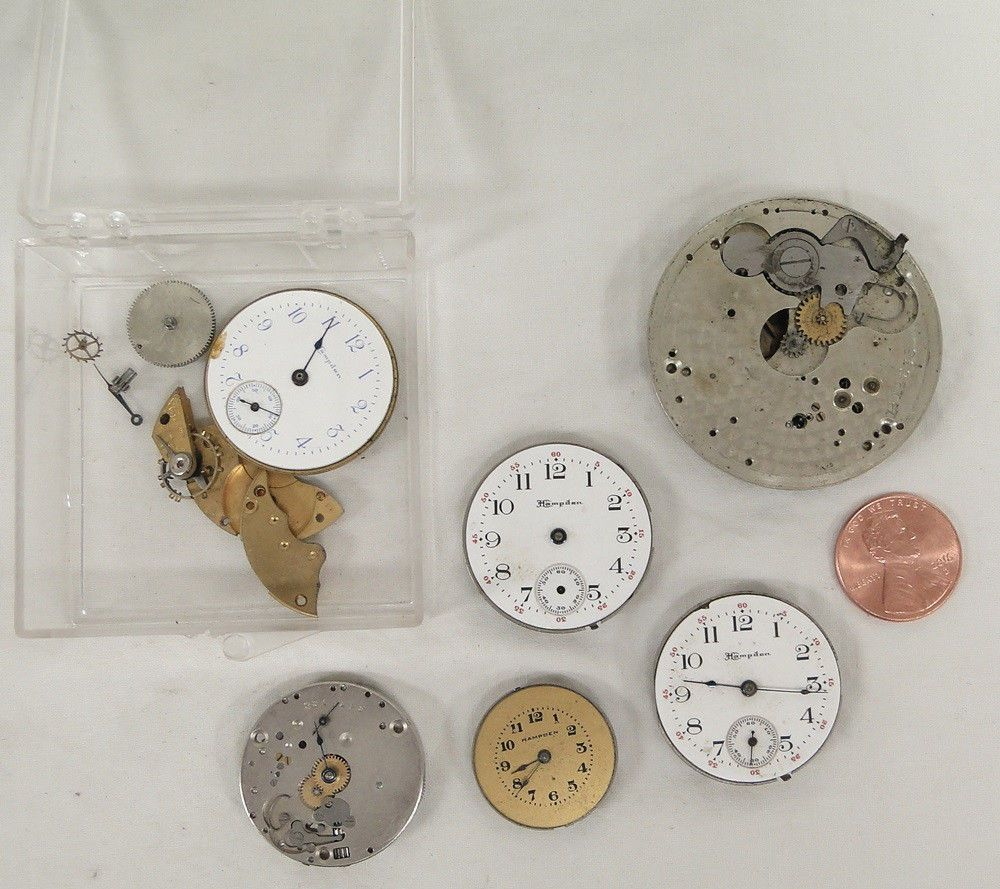 Lot Antique Hampden Pocket Wrist Watch Pocketwatch Movement Watches Part Repair #Hampden FOR SALE 0707