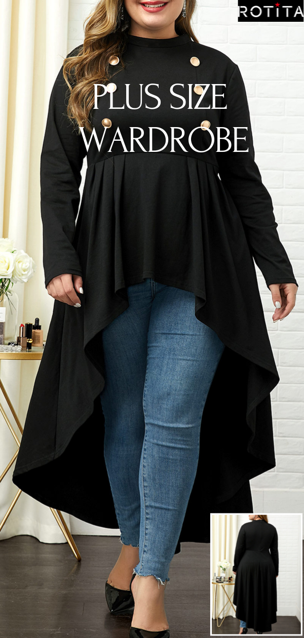 Photo of Button Detail Plus Size High Low T Shirt