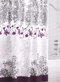 White With Purple Flowers Gray Abstract Purple Shower Curtain