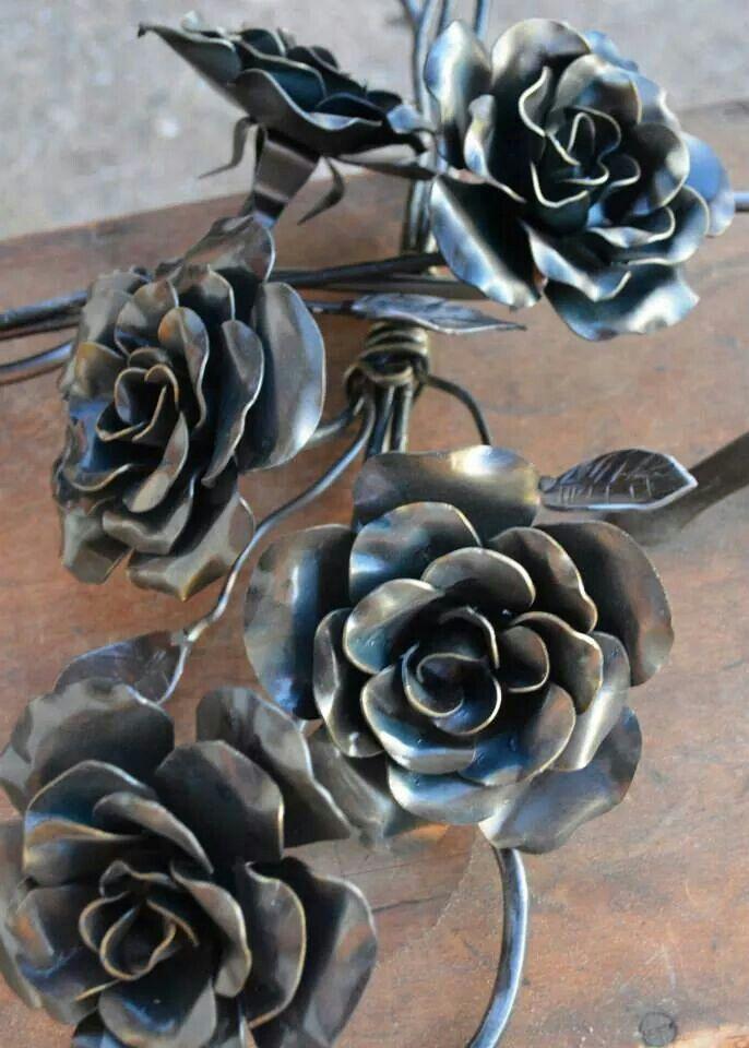 forged rose template - blacksmithed roses sculpture pinterest fer forg