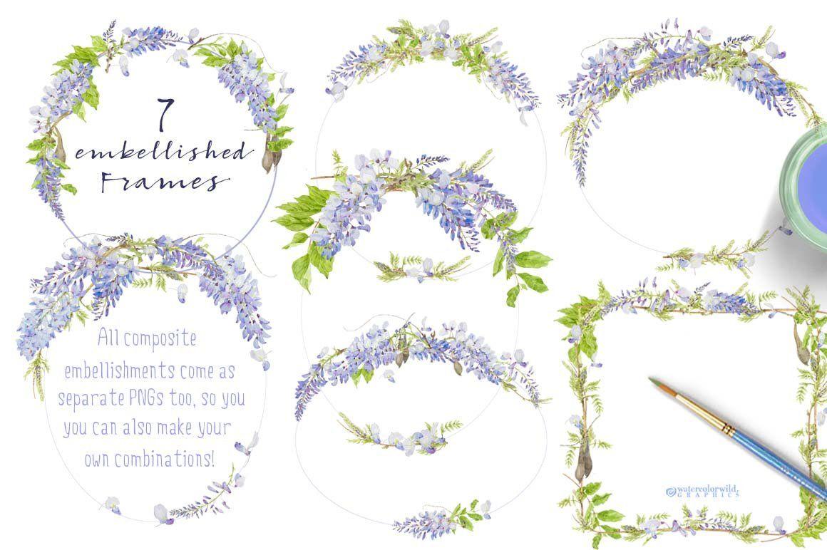 Wisteria Design Pack Wisteria Design Flower Clipart Elegant Wedding Stationery