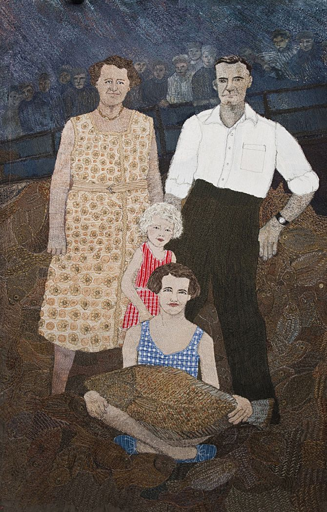 Textile artist Sue Stone, Family with Fish, 2011. Sue is a member of the prestigious 62 Group of Textile Artists.
