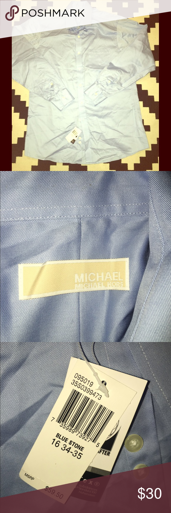 Michael Kors Dress shirt Brand new with tags light blue Michael Kors shirt from MK store. No flaws, just way too big for my boyfriend. Size 34/35 and neck 16 Michael Kors Shirts Dress Shirts