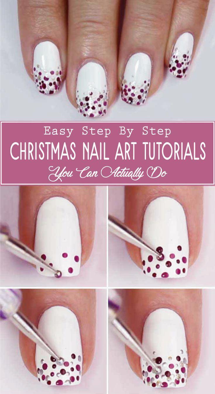Ein einfaches aber sehr schönes Nageldesign. Perfekt für Weihnachten und … - Schönheit #newyearsnails