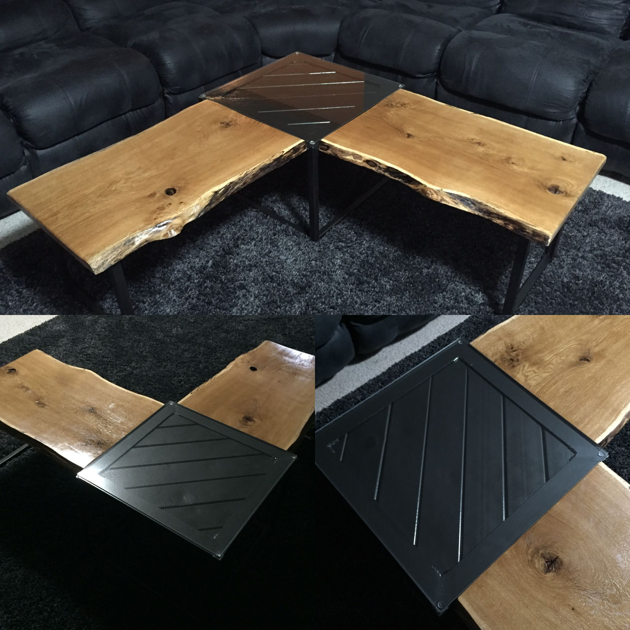 L Shaped Live Edge Red Oak And Iron Coffee Table Designed And