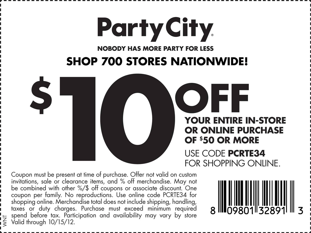 picture about Party City Coupons Printable named $10 off $50 at Celebration Town, or on the net by means of checkout promo