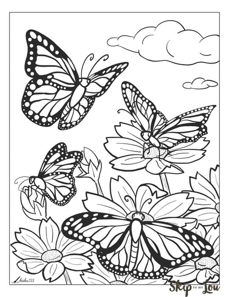 Printable Coloring Pages Of Flowers And Butterflies : printable, coloring, pages, flowers, butterflies, Printable, Butterfly, Coloring, Page,, Flower, Pages,