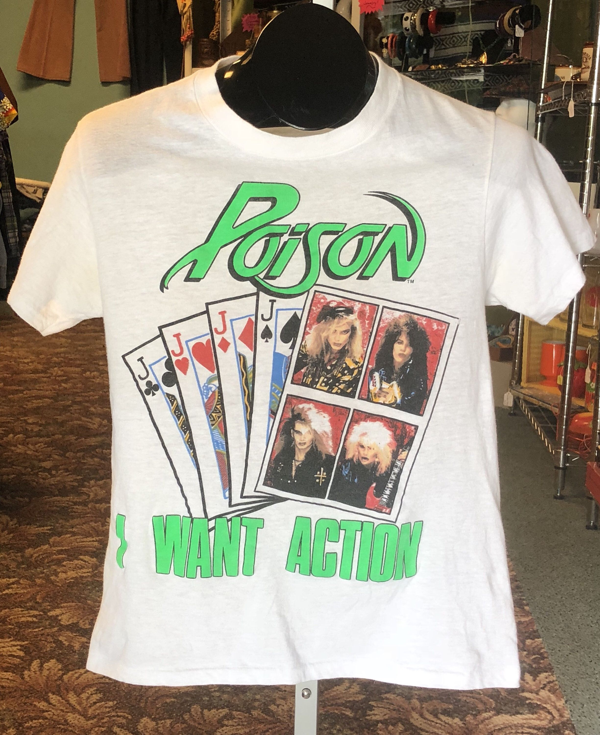 97cc5b7fc8b55 80's Vintage Poison I Want Action | Look What The Cat Dragged In Tour Tee |  1980's White Poison Band Graphic Collectable T Shirt | Size S/M #vintagetee  ...