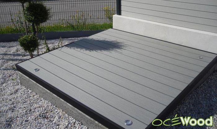 petite plateforme deco en lames terrasse composite - Lames Optima - cout d une terrasse en bois