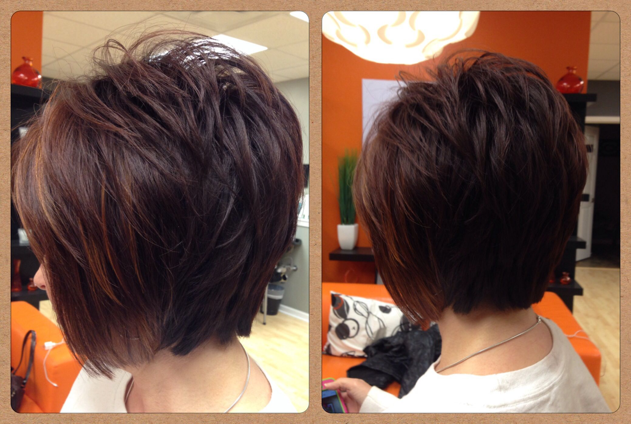 Layered bob dark reddish brown with copper highlights hair by
