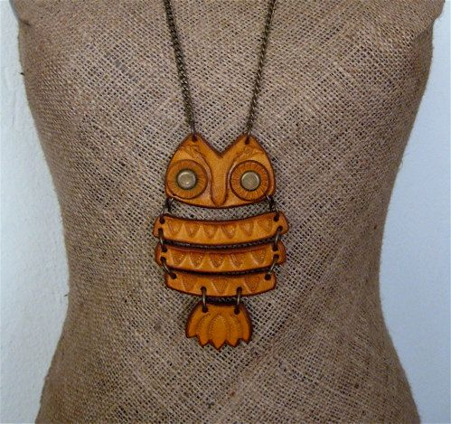 {leather owl pendant} fab retro styling!