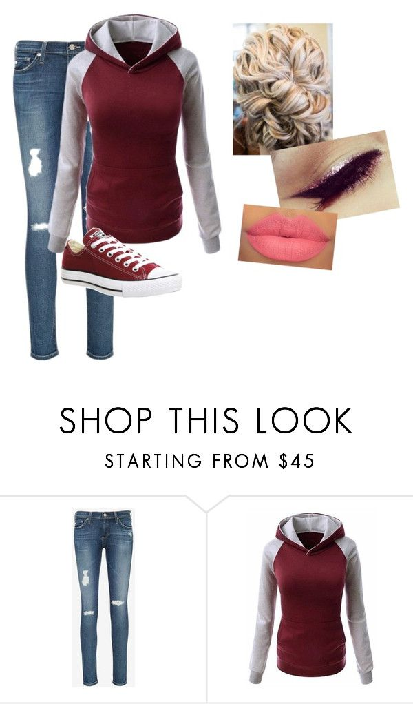 """""""Maroon School Outfit"""" by amilne-10 ❤ liked on Polyvore featuring AG Adriano Goldschmied and Converse"""