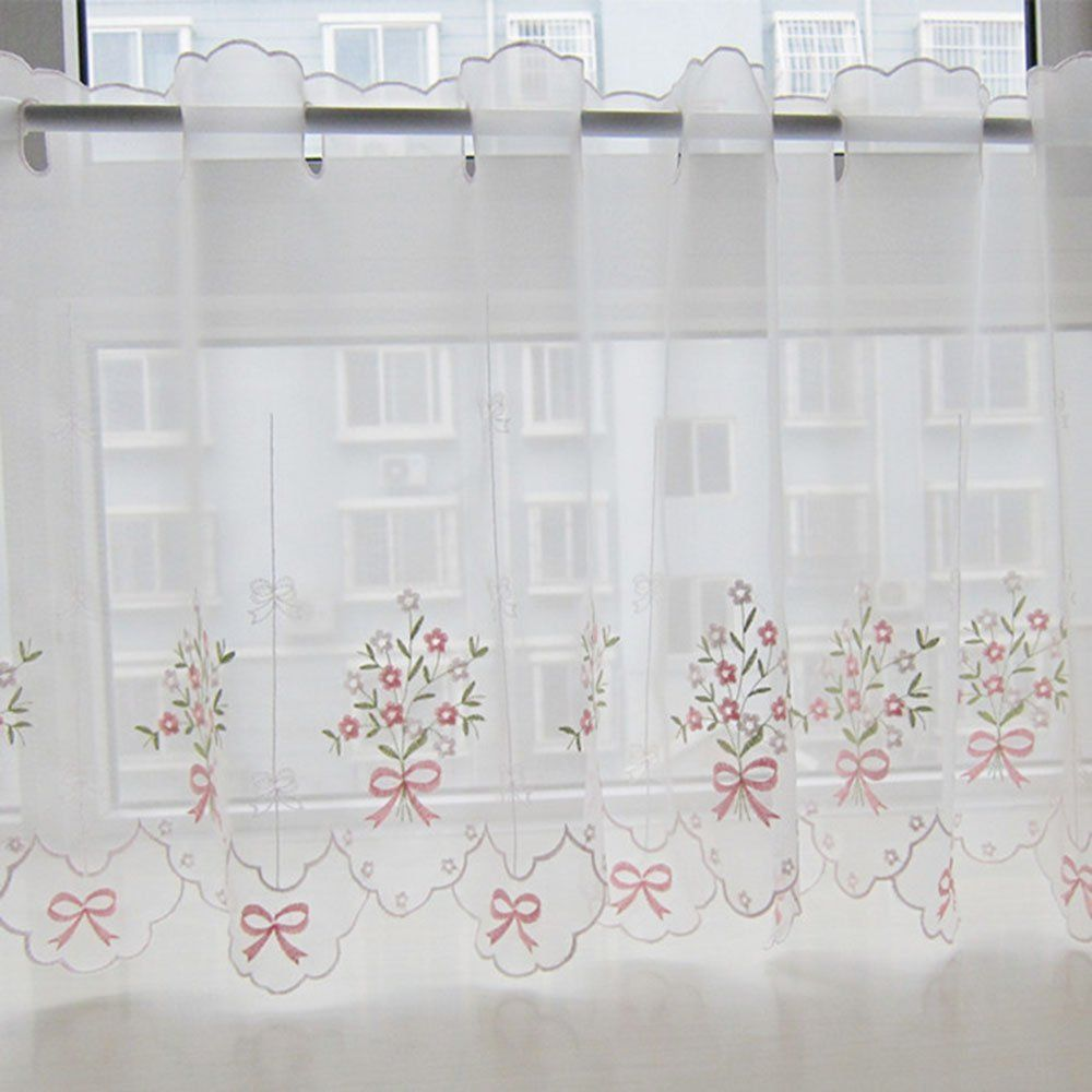 ZHH Pastoral Style Floral Embroidered Cafe Curtain, Lace Sheer Window  Valance 35 By 57