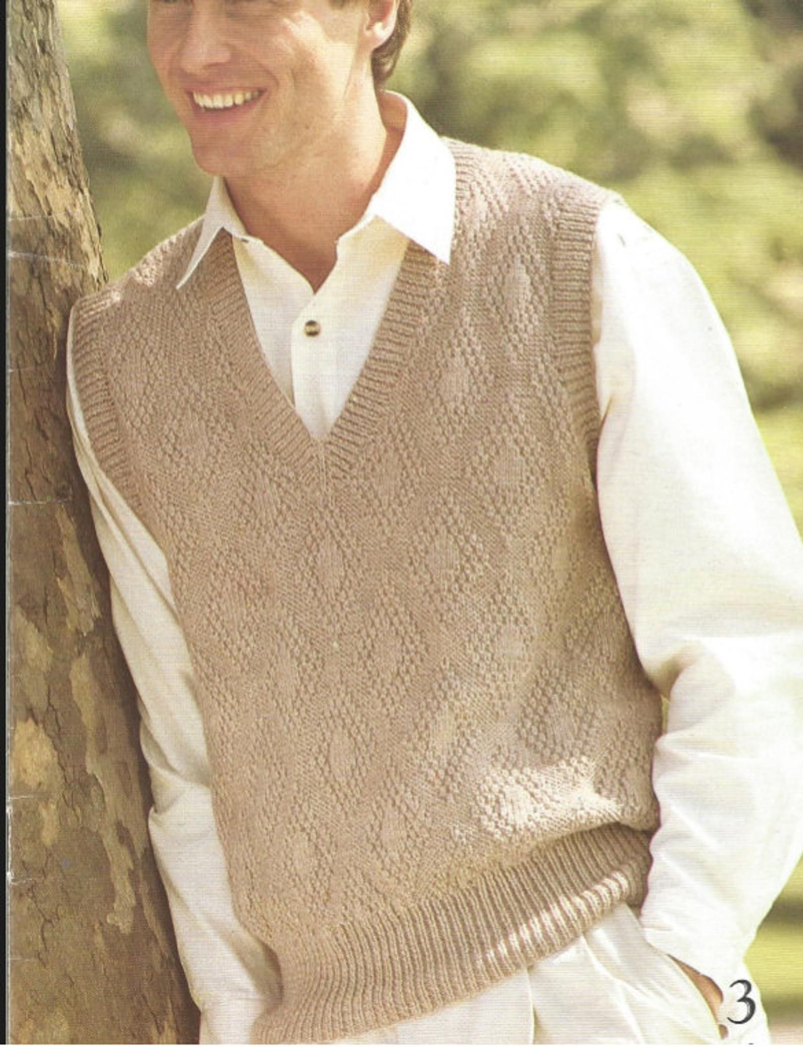 Mens Knit V Neck Sweater Pdf Pullover Vest Style Ohhhmama Etsy In 2020 Knit Vest Pattern Men S Knit Men Sweaters Pattern