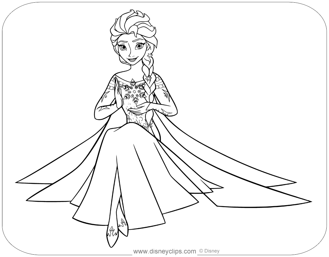 Coloring page of Elsa holding a snowflake between her