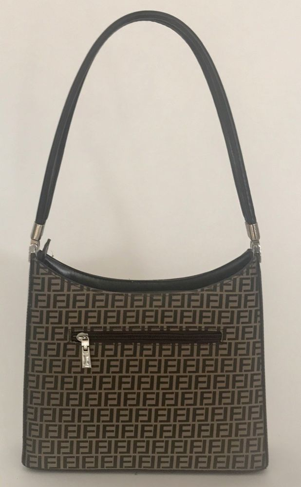 0613fc4026d8 Details about Fendi Womens Vintage Zucca Print Crossbody Shoulder Handbag  Brown Beige Canvas