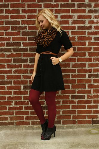 f4430a461399 Love the red tights with the black dress