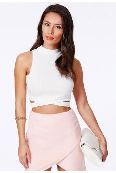 9879f25ede0 Naira High Neck Crop Top With Bandage Waist In White | style | Crop ...