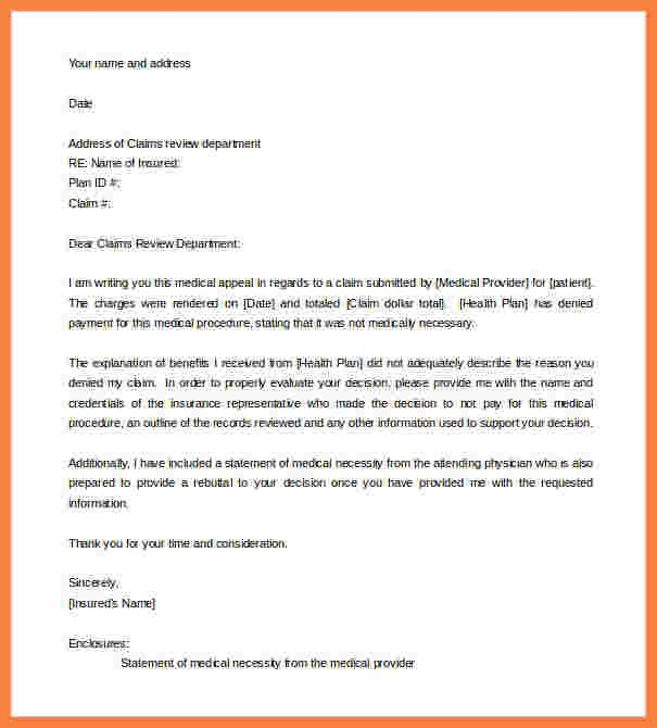 medical appeal letter exampleeal template for claim sample itinerary