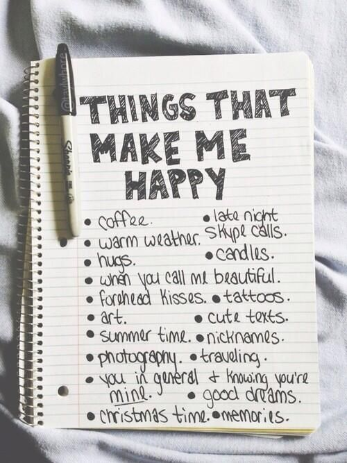 List the things that make me happy, can add pictures and embellishments
