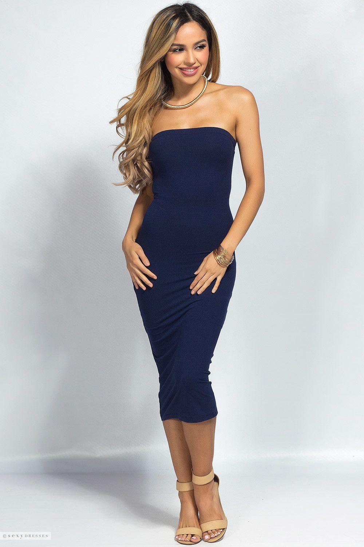 Camella Navy Jersey Bodycon Midi Tube Dress Tube Midi Dress Tube Dress Blue Strapless Dress [ 1500 x 1000 Pixel ]