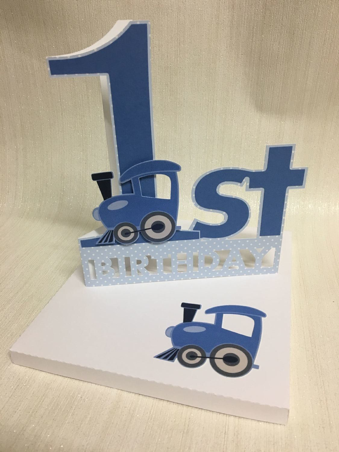 Shaped 1st Birthday Card with Train detail and card box