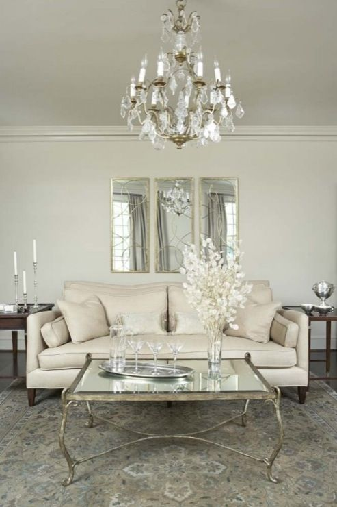 Exquisite Living Room With Arteriors Nikita Mirror In Gold