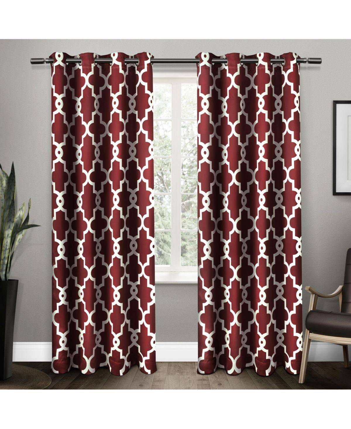 Exclusive Home Ironwork Sateen Woven Blackout Grommet Top Curtain