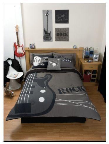 teens boys grey rock guitar forter bedding set queen
