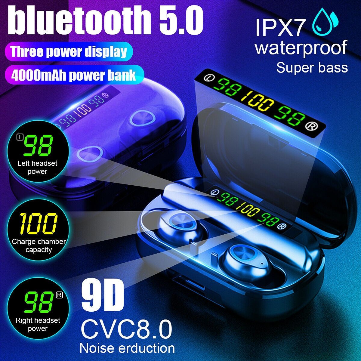 V5 0 Bluetooth Stereo Earphone Wireless Ipx7 Waterproof In 2020 Wireless Earphones Bluetooth Earbuds Wireless Earbuds