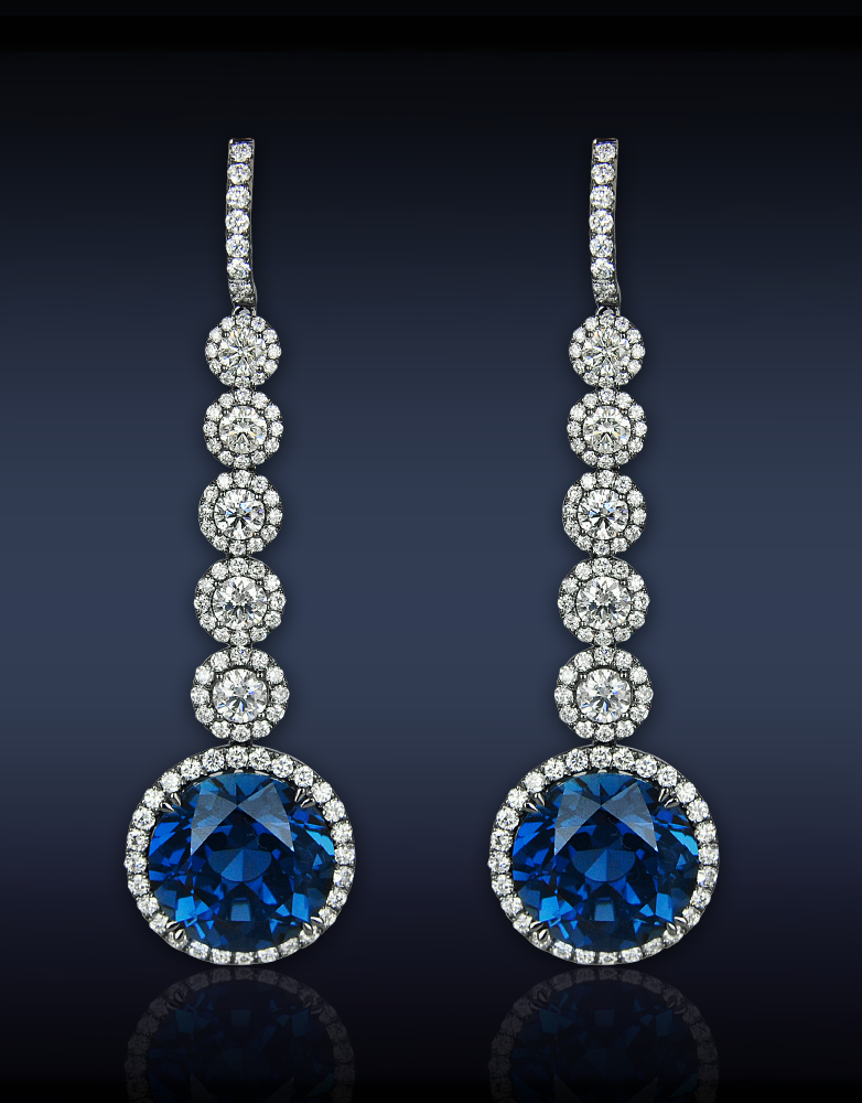 Jacob &Co. Sapphire Drop Earrings, 44.55cts Blue Sapphires (2 ...