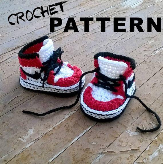 322022802c01 Crochet PATTERN. Air Jordans style baby by ShowroomCrochet on Etsy ...