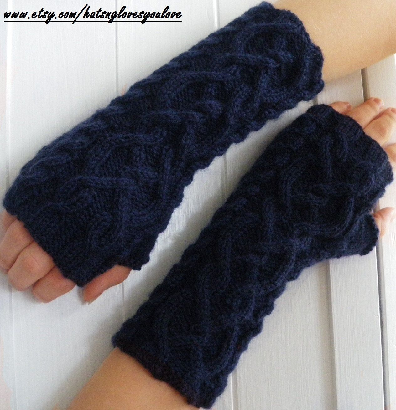 Navy Blue Knit Arm Warmers Fingerless Gloves - Cable knit In Pure ...