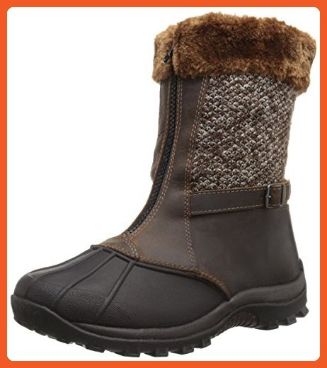 Propet Women's Blizzard Mid Zip Cold Weather Boot, Brown/Knit, 6.5 W US - Outdoor shoes for women (*Amazon Partner-Link)
