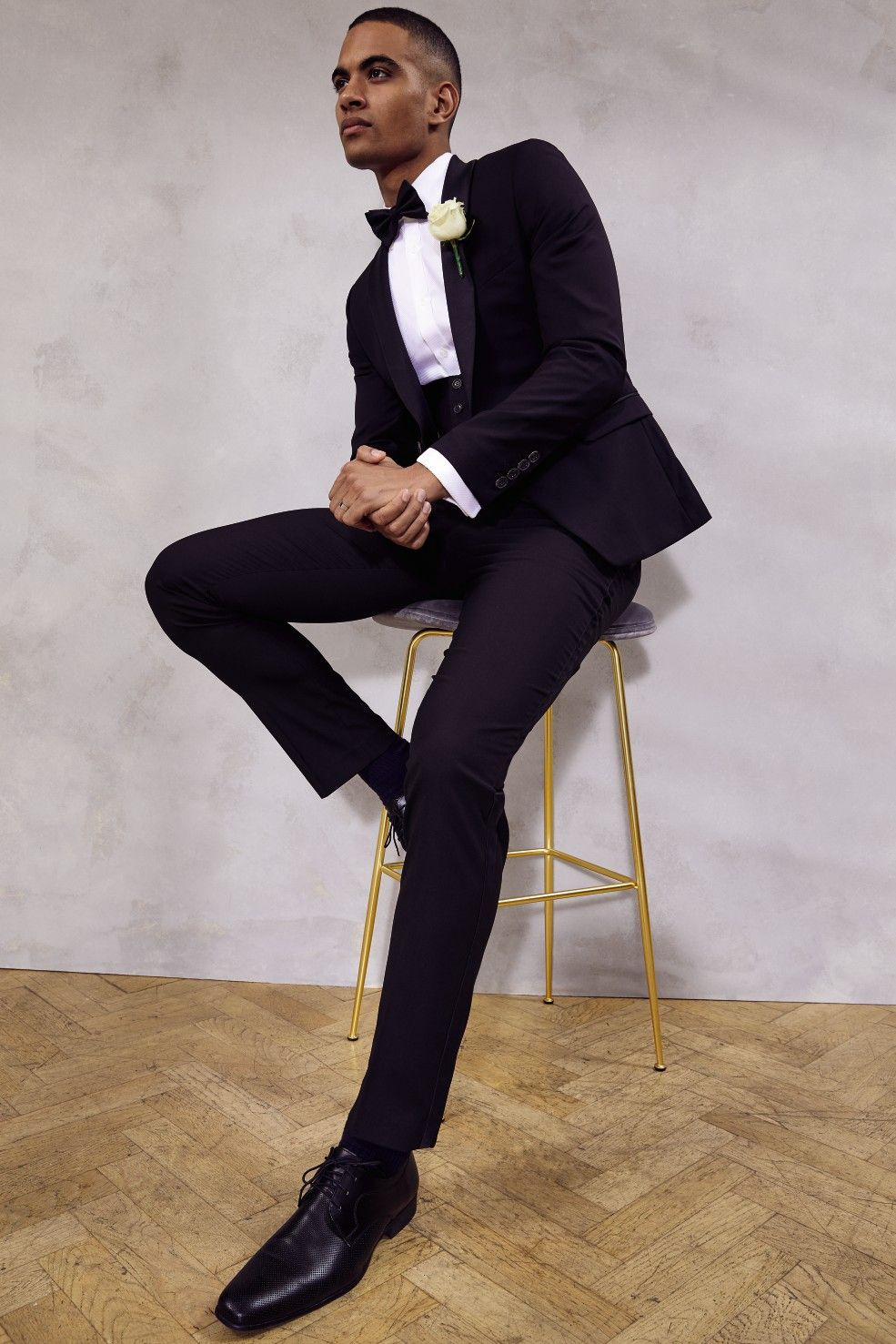 Sophisticated black tuxedo from our formal hire service