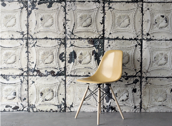 Brooklyn Tin Tiles wallpaper, collaboration with Paris boutique Merci and NLXL.