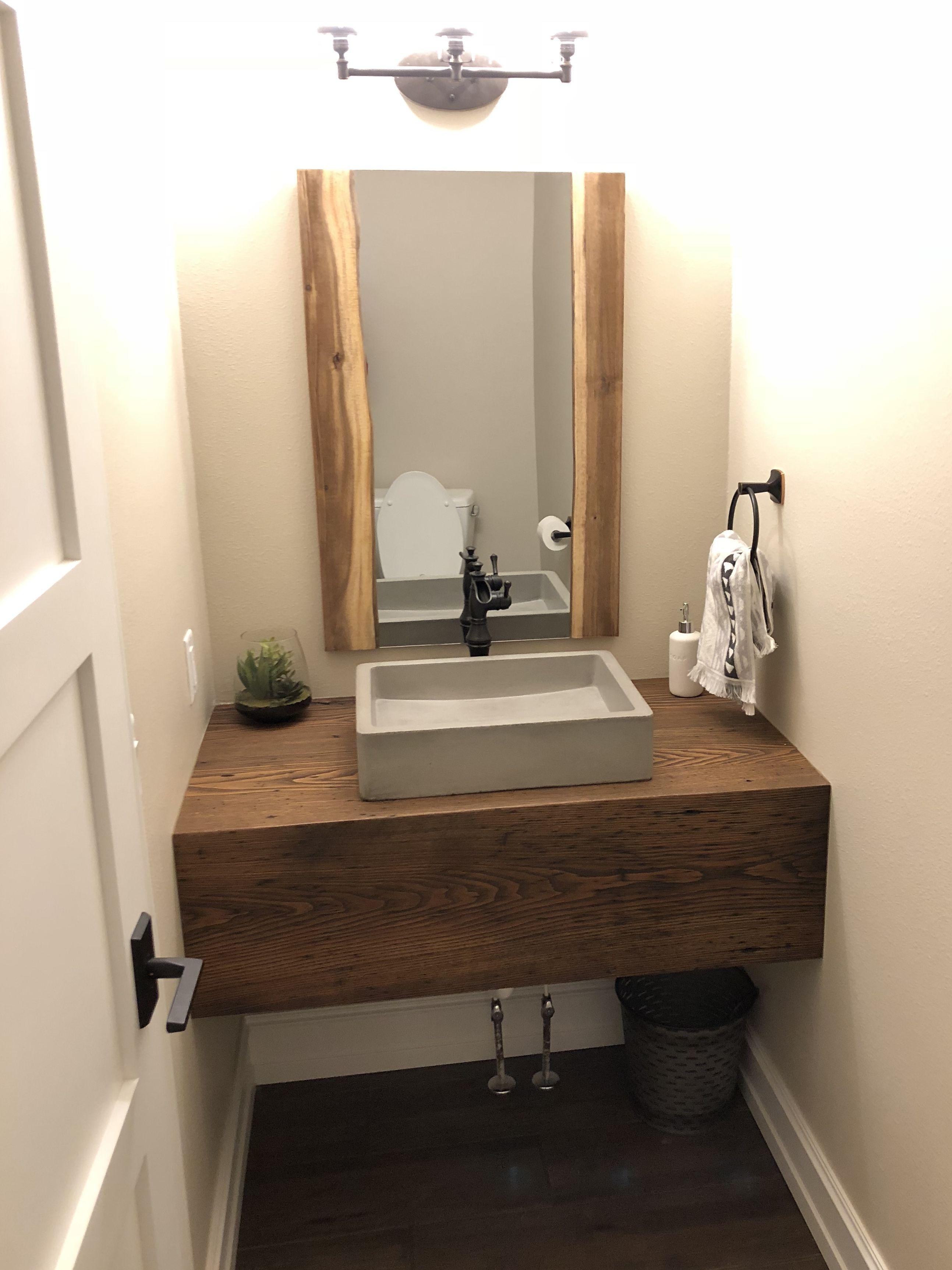 Guest Bathroom Floating Wood Block Vanity Concrete Sink Modern