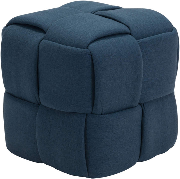 Navy Blue Checks Stool | Upholstered stool, White leather ...