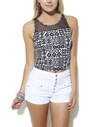 Tribal Mesh Inset Crop Top from Wet Seal