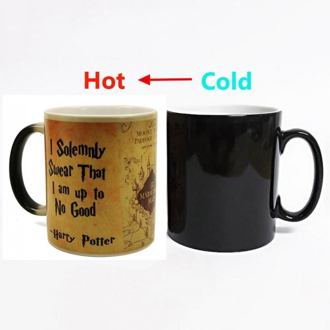 2018 New 1pcs Magic Mug Harry Hot Drink Cup Color Changing Mug Potter Marauders Map Mischief Managed Wine Tea Cu Mugs Harry Potter Marauders Map Creative Gifts