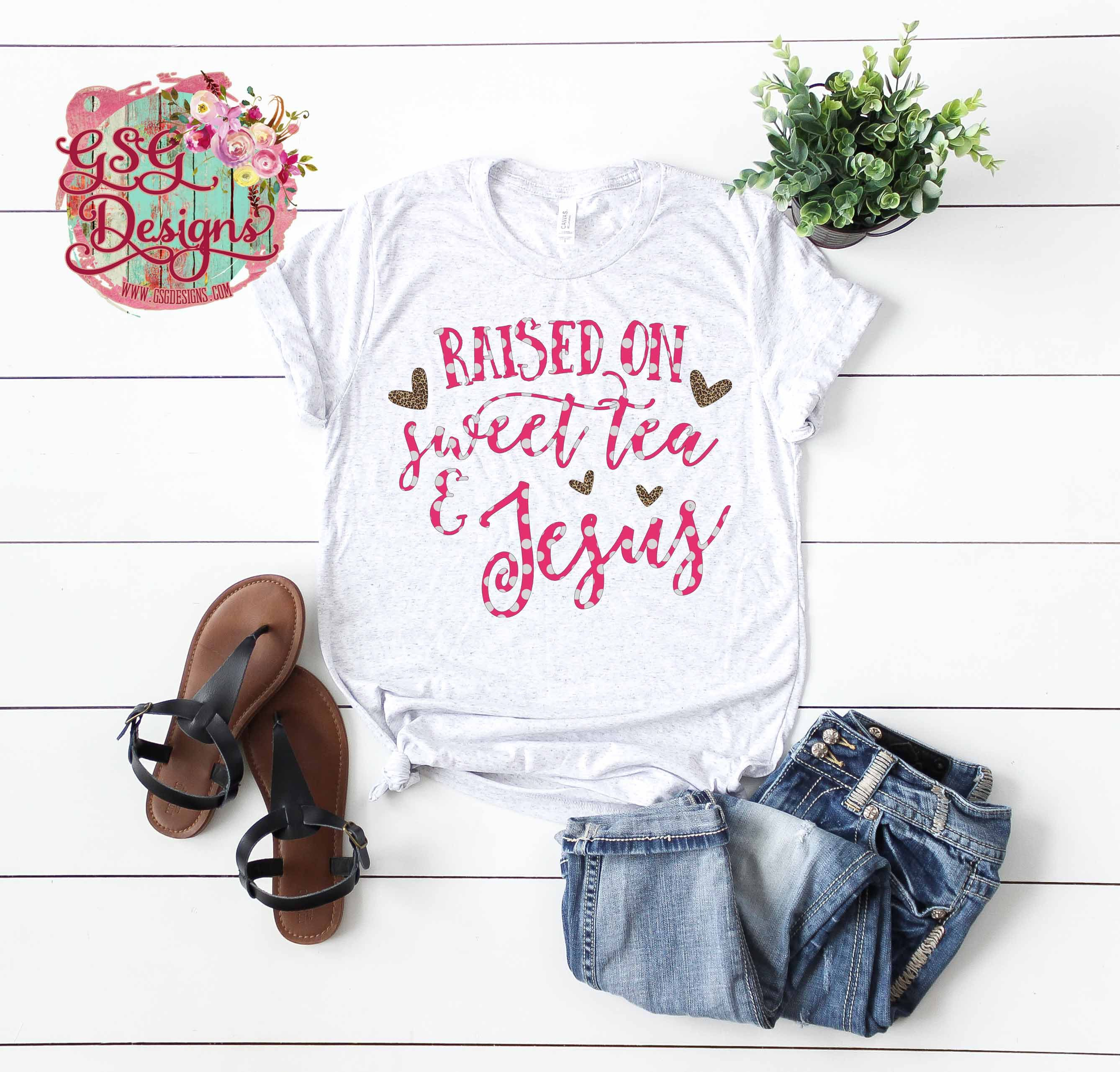 Raised On Sweet Tea Jesus Leopard Polka Dot Sublimation Transfer