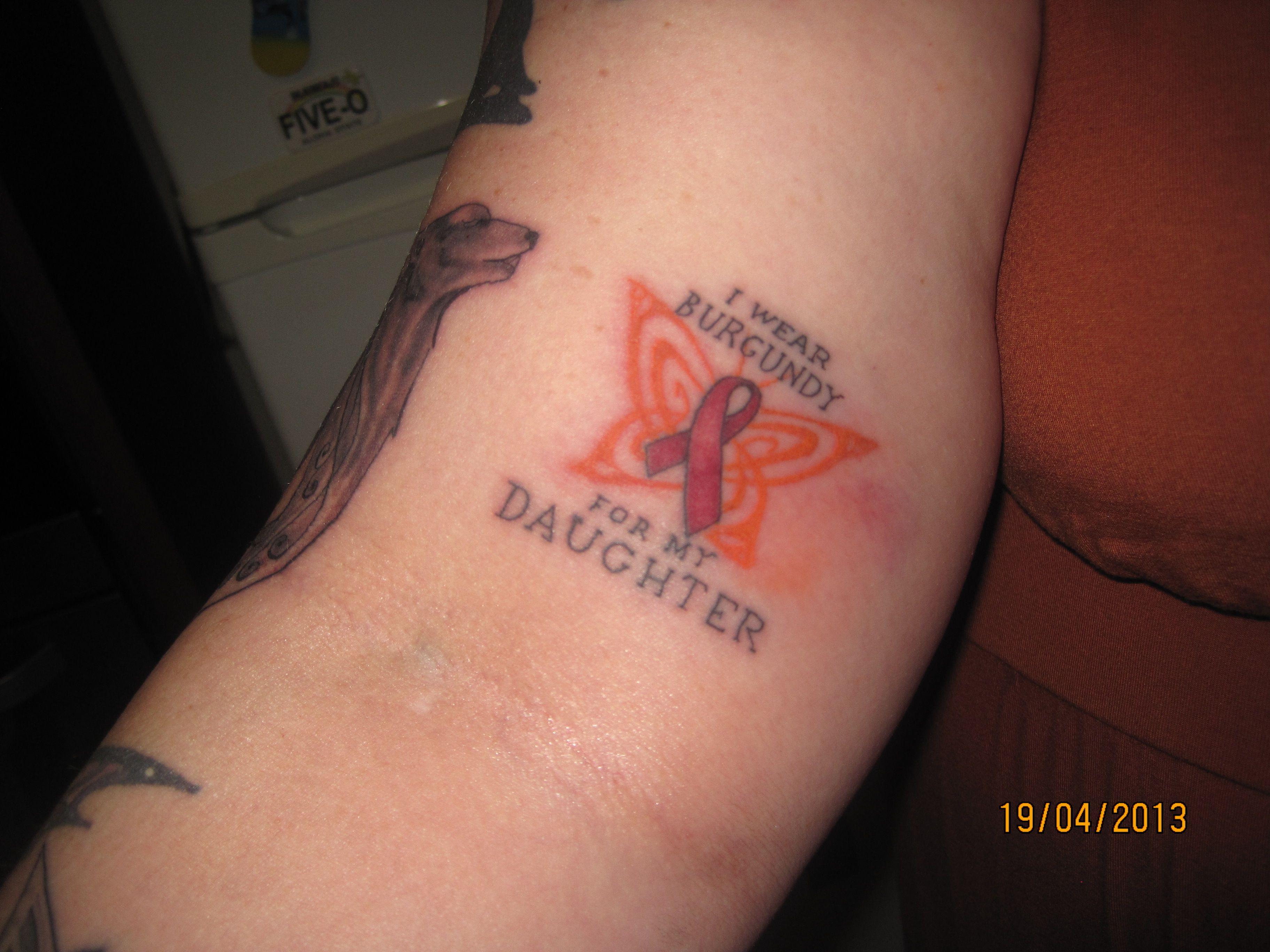 Burgundy Ribbon For Brain Anuerysm Ribbon Tattoos Tattoos Strength Tattoo