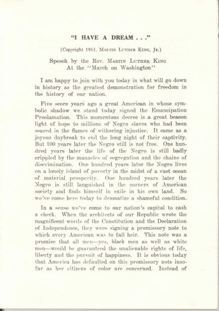 """Dr. Martin Luther King's """"I Have a Dream"""" Speech. http://www.archives.gov/press/exhibits/dream-speech.pdf"""