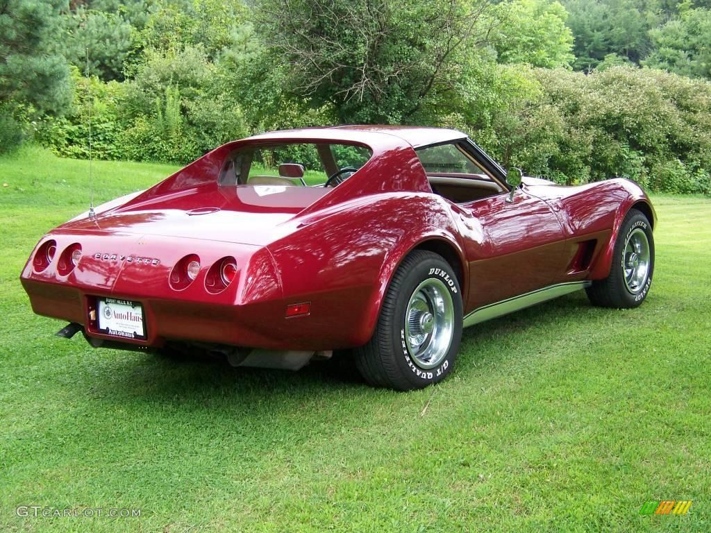 1974 corvette stingray coupe medium red metallic neutral beige
