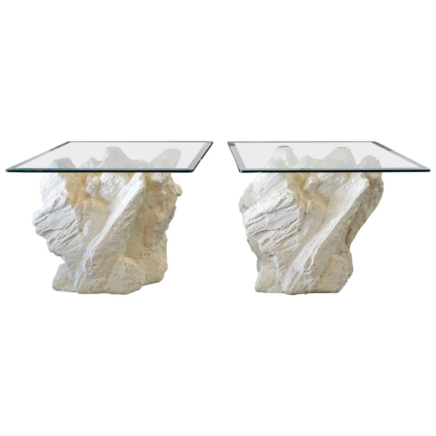 Brutalist Faux Rock End Tables By Sirmos Vintage Side Table Faux Rock Diy Curtains