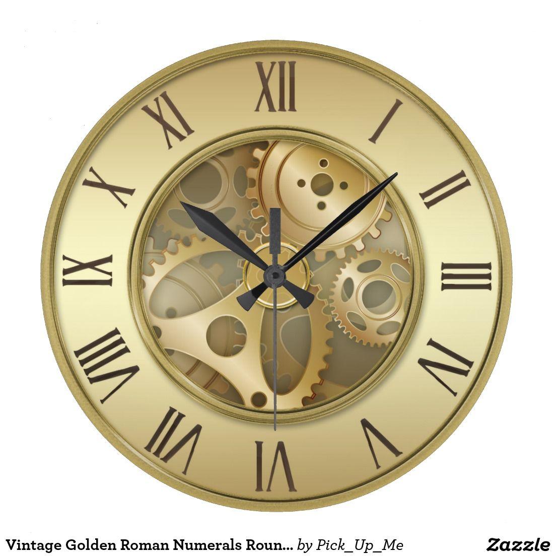 Vintage Golden Roman Numerals Round Wall Clock   Tattoo ideas ...