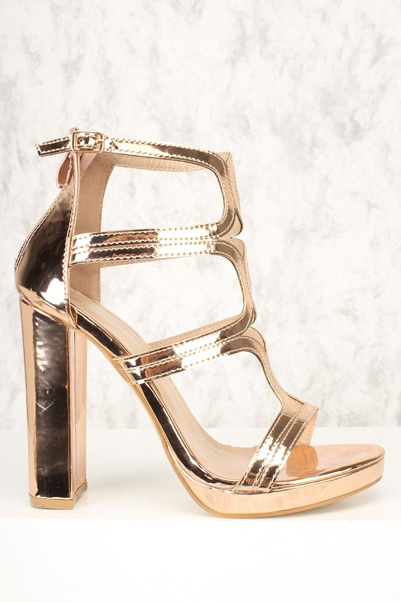 3751bb01cb378b Sexy Rose Gold Strappy Platform Pump Chunky High Heels Metallic Faux Leather